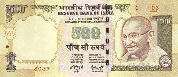 500-sedel i Indiska Rupie